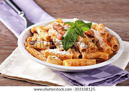 Macaroni Bolognese. Typical Italian dish. - stock photo