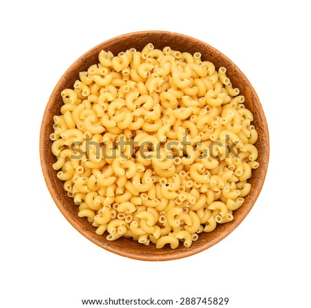 Macaroni pasta close up isolated in wooden bowl on white - stock photo