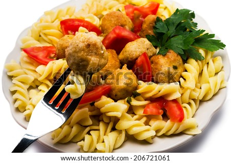 macaroni with meatballs the isolated - stock photo