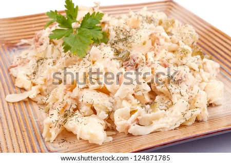 Macaroni with tuna, mayonnaise, cucumber and cheese - stock photo