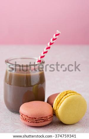Macarons and chocolate milkshake  - stock photo