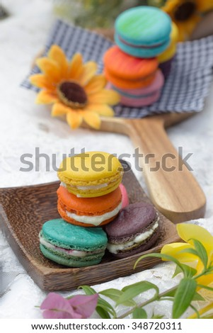 Macarons and sunflower afternoon tea.