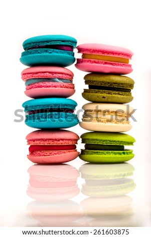 macarons  in isolated on white background