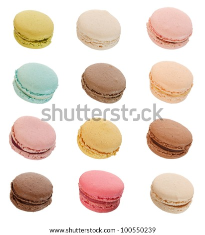 Macarons isolated in white background - stock photo