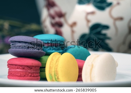 Macarons on wood table vintage color
