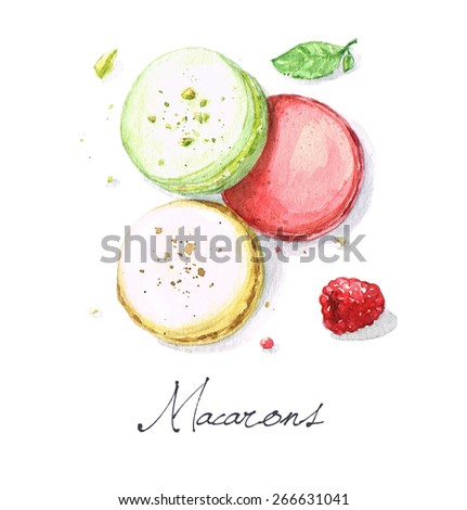 Macarons - Watercolor Food Collection - stock photo