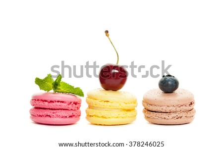 Macaroons and Berry on White Background - stock photo