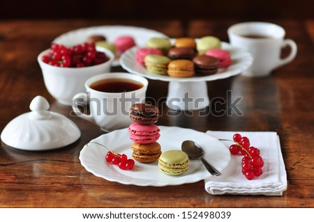 Macaroons in a cafe - stock photo