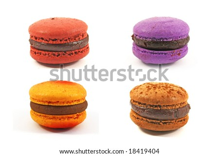 macaroons in various flavors on isolated white background - stock photo
