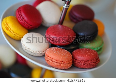 macaroons on a plate - stock photo