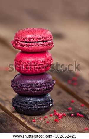 Macaroons on a wooden table - stock photo