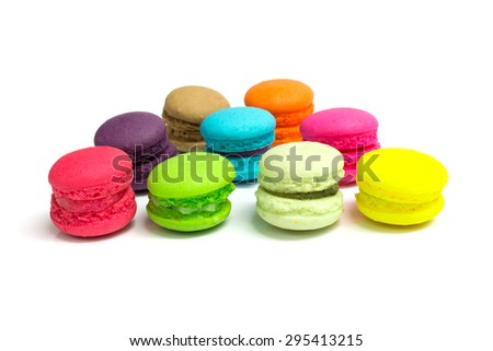 Macaroons variety background, french sweet delicacy