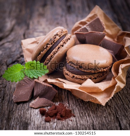 Macaroons with chocolate - stock photo