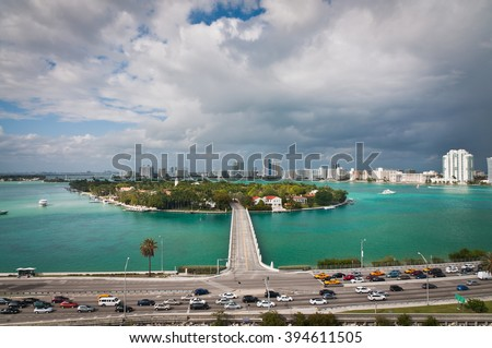 MacArthur Causeway and bridge to Star Island in Miami viewed from above