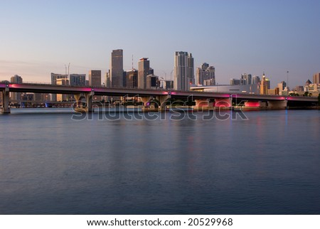 MacArthur Causeway and Miami Bayfront Skyline at Dawn - stock photo