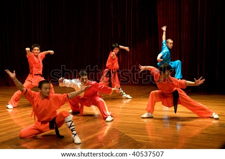 MACAU - APRIL 25: Performing Chinese kung fu (wu shu) with pose of fight on April 25, 2009 in Macau. - stock photo