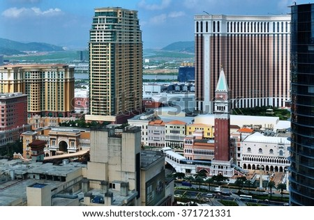 MACAU -5 AUGUST 2013- Macau is a popular tourist destination in Asia and one of the leading casino markets in the world. Many big Las Vegas hotels have sister properties in Macao. - stock photo