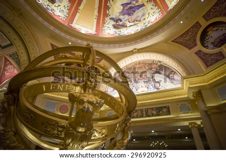 Macau, China - JUL 10 : The beautiful decor in Venetian Hotel, Macao on July 10, 2015.The Venetian Hotel, Macao is the famous shopping mall, luxury hotel and the largest casino in the world.