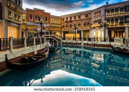 MACAU,CHINA - JUL 12:The Venetian Macao-Resort-Hotel on Jul 12, 2014 in Macau. Covering an area of 10500000 square feet,The world's second largest building. - stock photo