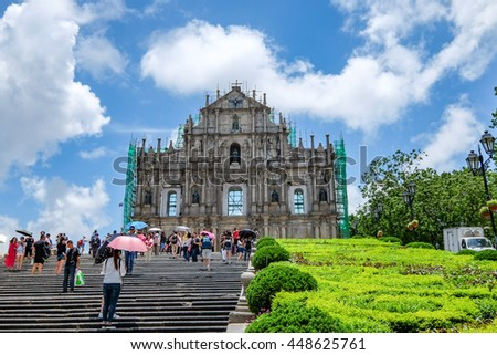 MACAU , CHINA , JULY 2 : The Ruins of St. Paul's , the building from 16th-century is one of Macau's best known landmarks, Macau , China on July 2 2016. - stock photo
