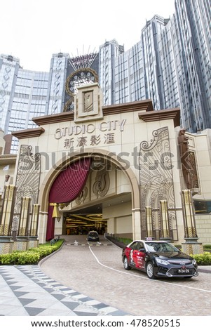 MACAU , CHINA - JULY 2, 2016 : The Studio City is very large luxury hotel in Macau , with casino and shopping mall.