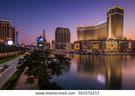 MACAU,CHINA - NOV 24:The Venetian Macao-Resort-Hotel mall on Nov 24, 2015 in Macau. This is a major tourist attraction in Macau. - stock photo