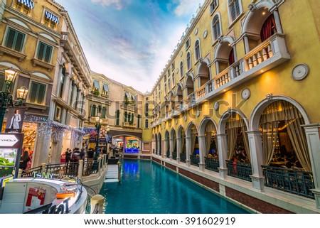 MACAU,CHINA - NOV 23:The Venetian Macao-Resort-Hotel mall on Nov 23, 2015 in Macau. This is a major tourist attraction in Macau. - stock photo