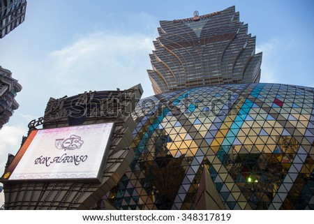 MACAU,CHINA 3 November ,2015:Casino Lisboa is one of the most famous hotel casinos in Macau, China.  - stock photo