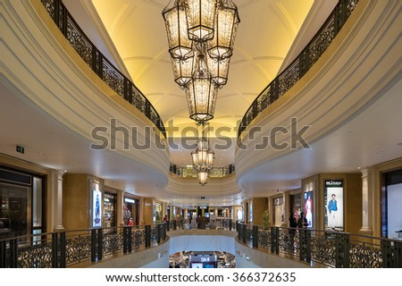 MACAU, CHINA - NOVEMBER 27, 2015: The Venetian Macao interior view.. Macau is the gambling capital of Asia and is visited by over 25 million people every year.