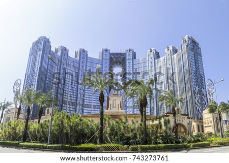MACAU , CHINA - Oct 20 : The Studio City is very large luxury hotel in Macau , with casino and shopping mall on October 20, 2017.