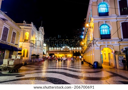 MACAU,CHINA - 14 OCTOBER ,2013 :The Senado Square, or Senate Square is a paved town square in Macau, China and part of the UNESCO Historic Centre of Macau World Heritage Site - stock photo