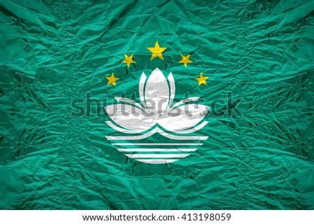Macau flag pattern overlay on floyd of candy shell, vintage border style - stock photo