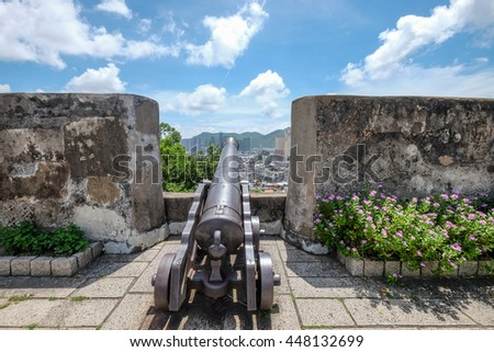 MACAU , JULY 2 : Monte fortress was built between 1617 and 1626 on the 52 metre-tall Mount Hill,located directly east of the Ruins of St. Paul's , Macau on July 2 2016. - stock photo
