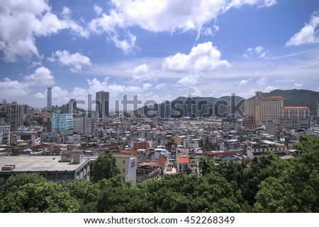 MACAU , JULY 2 : View Point macau city from Monte fortress , Macau on July 2 2016.
