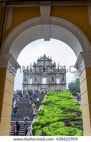 MACAU, MACAU - OCTOBER 22,2015 - Ruins Of Saint Paul's Cathedral. Built from 1582 to 1602 by the Jesuits. - stock photo
