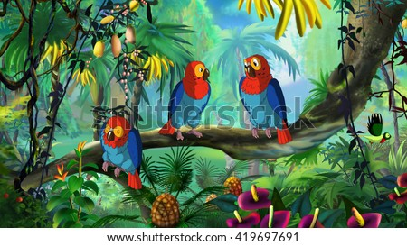 Macaw (Ara). Digital painting  full color illustration. - stock photo