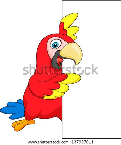 Macaw with blank sign - stock photo