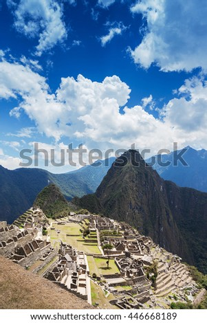 Macchu Picchu old town on a sunny day - stock photo