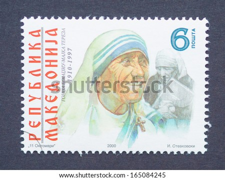 MACEDONIA - CIRCA 2000: a postage stamp printed in Macedonia showing an image of Nobel Peace Prize winner Mother Teresa, circa 2000.  - stock photo