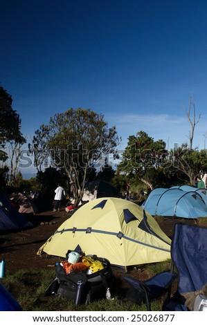 Machame camp on Machame route. Mount Kilimanjaro, Tanzania, December 2008. - stock photo