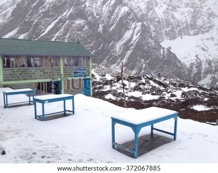 MACHAPUCHARE BASE CAMP, NEPAL - APR 11 : Guest house at Machapuchare or Fishtail base camp, a part of Annapurna base camp on April 11, 2012