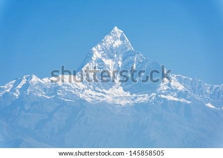 Machapuchare mountain, Pokhara, Nepal - stock photo