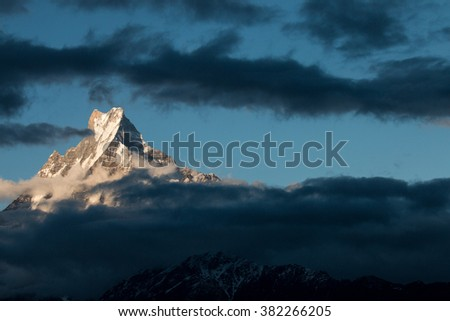 Machhapuchhre or Fish tail is name of mountain in Nepal