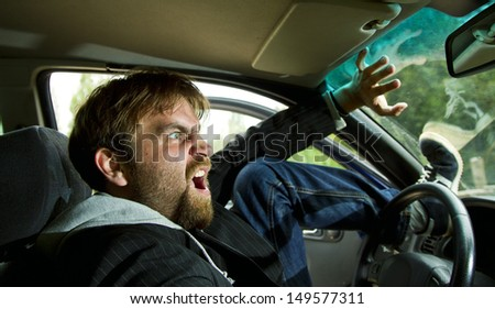 machine can get into an accident the driver in a panic - stock photo