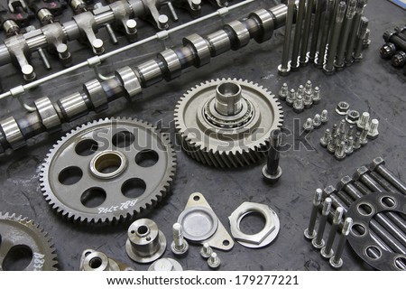 Machine engine components Engine Parts - stock photo