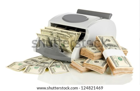 Machine for counting money and 100 dollar bills isolated on white - stock photo