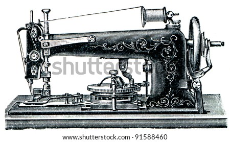 "machine for sewing on buttons - illustration from the encyclopedia publishers ""Education"", St. Petersburg, Russian Empire, 1896"