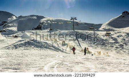 Machine for skiing slope preparations - stock photo