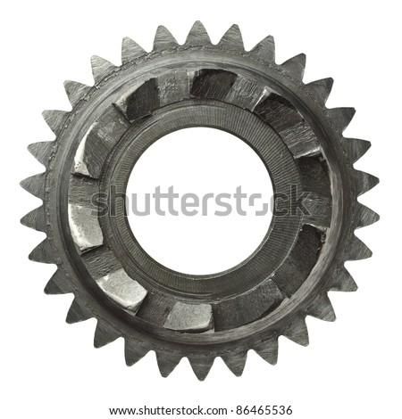 Machine gear, metal cogwheel. Isolated on white. - stock photo