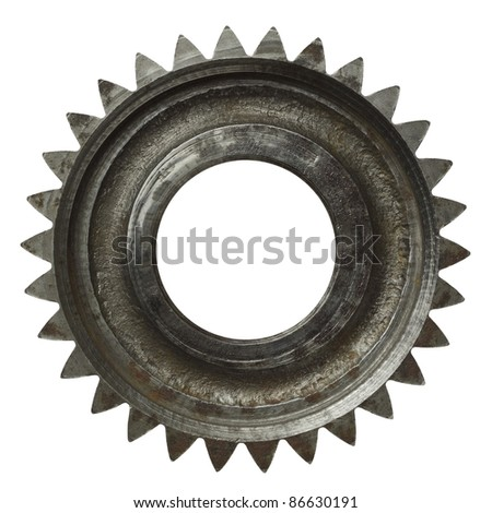 Machine gear, metal cogwheel. Isolated on white. - stock photo